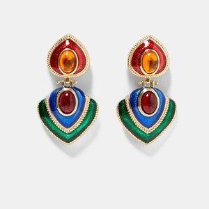 NWOT. Zara Colorful Vintage Details Earrings.
